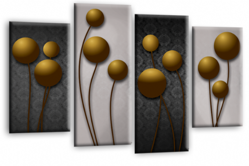Abstract Floral Canvas Wall Art Picture Grey Gold Flower Print